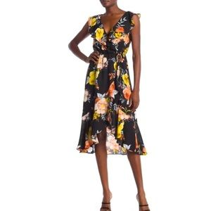 SOCIALITE Black Floral Print Faux Wrap Dress